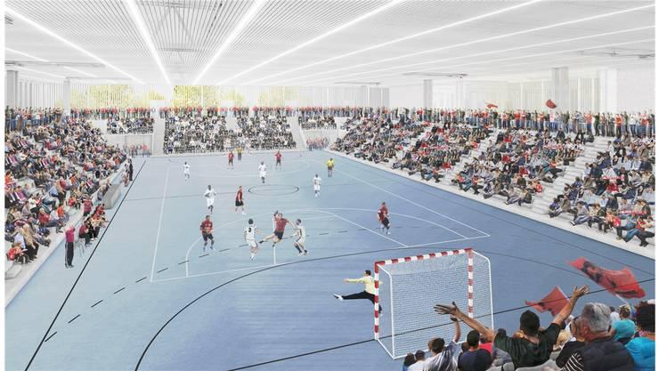 Makulatur: Visualisierung der neuen Schachenhalle, die Platz für 3000 Zuschauer bieten würde.