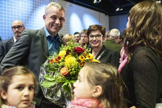 Souverän wiedergewählt: Nationalrat Beat Jans und Ständerätin Anita Fetz (beide SP)