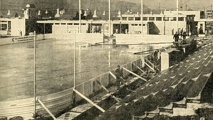 Die neu errichtete KEB Weihermatt, auf der Tribüne finden 1500 Zuschauer Platz; die Kapazität kann bis 3500 (!) Zuschauer erhöht werden - LT vom 26. November 1966