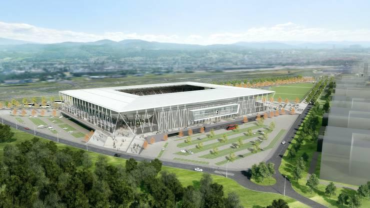 Das neue Stadion des SC Freiburg im Modell.