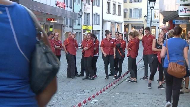 Brand in City Märt Aarau