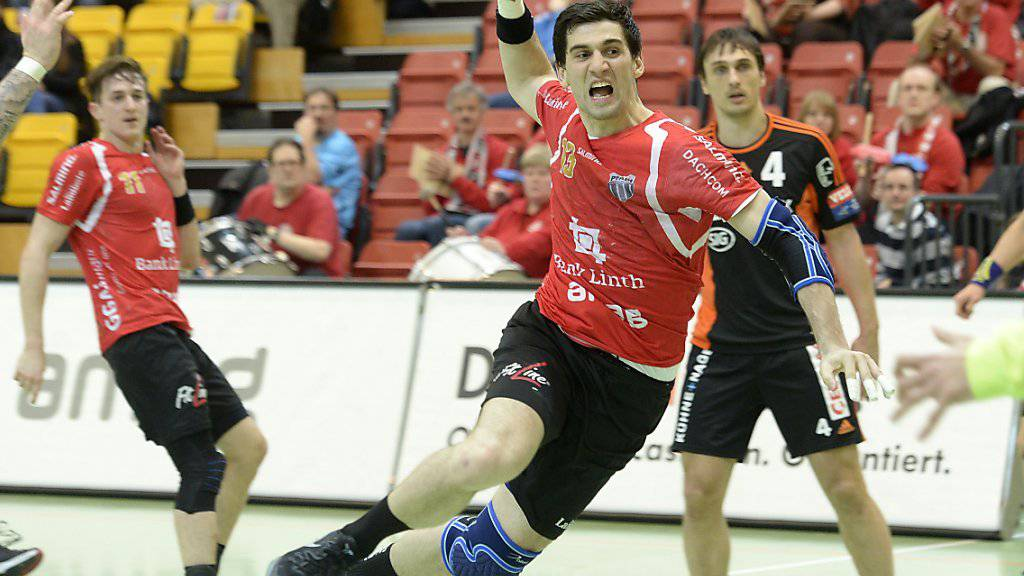 Pfadi Winterthur, hier mit Filip Gavranovic, ist in der Handball-NLA neu erster Verfolger von Wacker Thun. (Archivbild)
