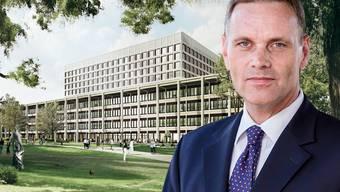 «Gute Führung und Disziplin»: Regierungsrat Jean-Pierre Gallati zum KSA-Neubau. (Visualisierung)