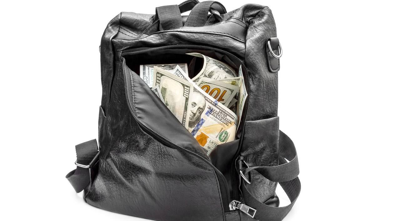 Rucksack mit Geld