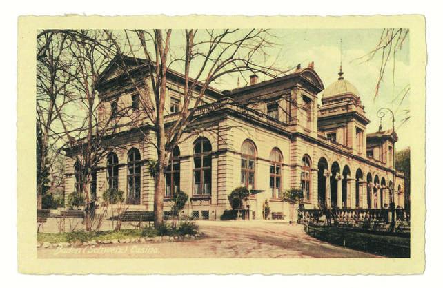 Die Poskarte zeigt den ehemaligen Kursaal von Baden.