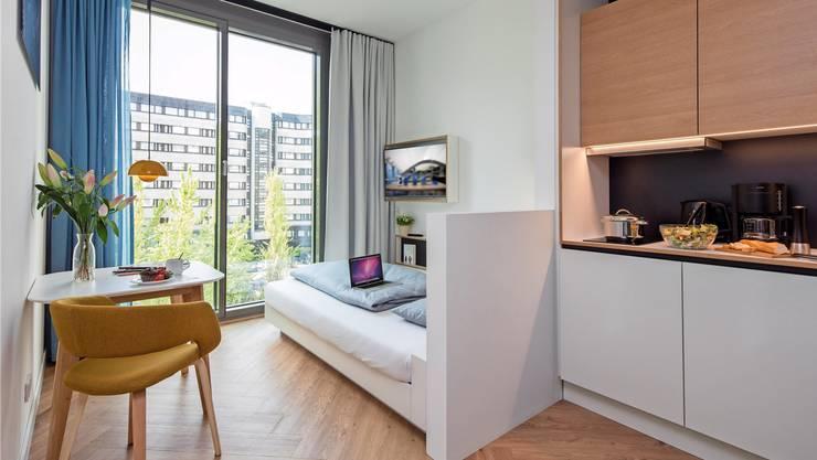 Was ist Luxus? Manche beschränken sich lieber in der Wohnfläche, verzichten auf Besitz und haben dafür Zugang zu ganz Vielem. Im Bild ein Berliner «Smartment». So nennt die in Deutschland beheimatete GBI AG ihre Mikroapartments.