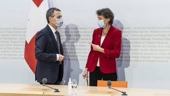 Bundespräsidentin Simonetta Sommaruga und Bundesrat Ignazio Cassis informierten über die Kandidatur für den Sitz im UNO-Sicherheitsrat.