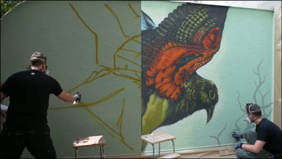 Im Zeitraffer: So entsteht eines von Maliks aufwendigen Kunstwerken. Diese Wandmalerei heisst «Kea» und befindet sich in Luzern.