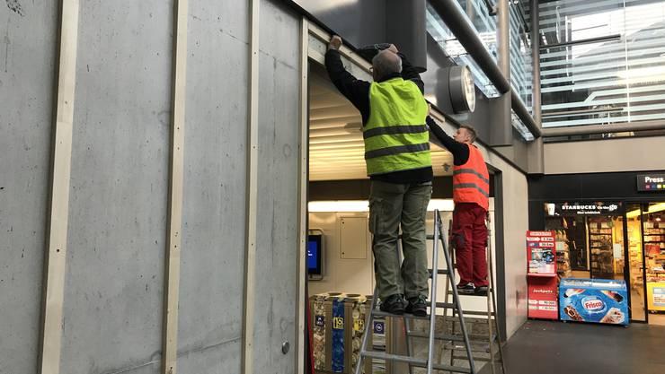 In der Unterführung Martin Disteli wird die schweizweit erste Moosbegrünung an einem Bahnhof montiert.