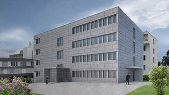 So wird der Neubau des Spitals Muri im Vollausbau aussehen; ein Stockwerk wird die Gemeinde belegen. zvg