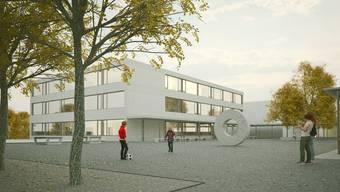 Auf dem Steinli-Areal ist ein dreigeschossiger Ergänzungsbau geplant. Die Gmeind entscheidet über den Baukredit. Visualisierung/zvg