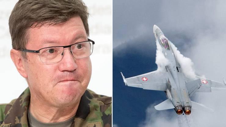 Luftwaffenkommandant Aldo C. Schellenberg (l.) informiert über den Vorfall.