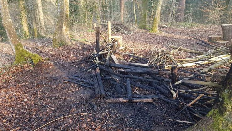 Das Waldsofa unweit der Baldingerstrasse wies Spuren einer Inbrandsetzung auf.