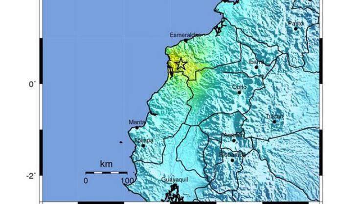 Der Stern auf dieser Karte der US-Erdbebenwarte zeigt den am Meer gelegenen Ort des ersten Erdbebens vom Mittwoch in Ecuador.