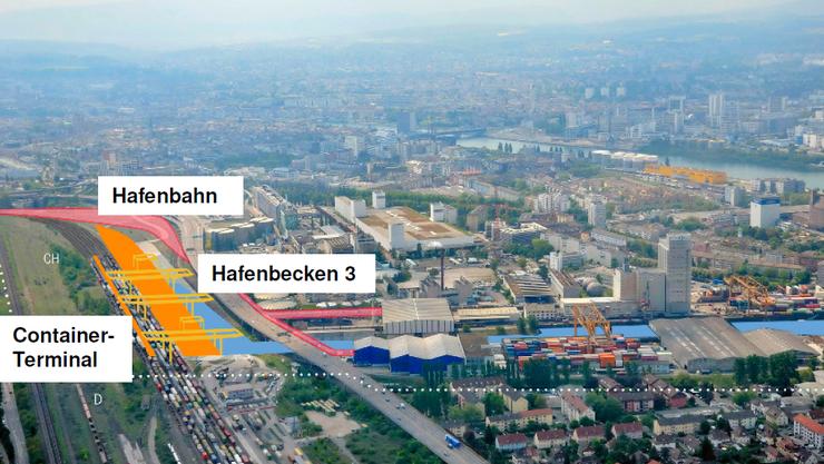 Visualisierung trimodales Containerterminal Basel Nord mit neuem Hafenbahnhof