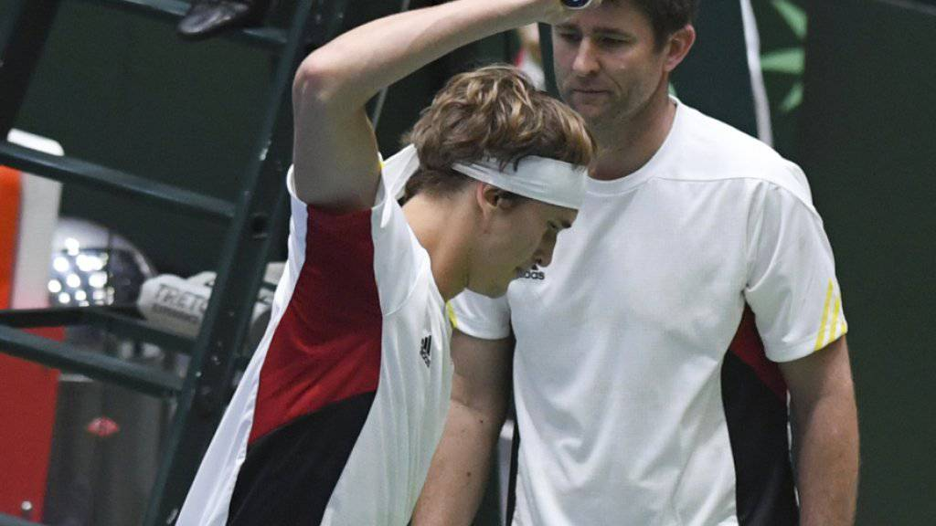 Ärger bei Deutschlands Alexander Zverev nach dem verlorenen Doppel gegen Belgien