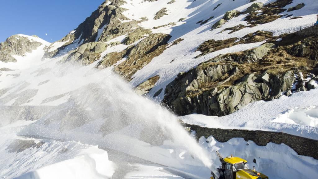 Im hohen Bogen fliegt der Schnee.