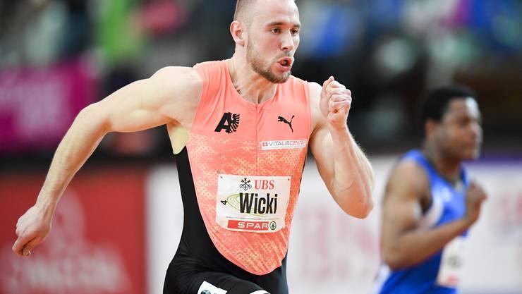 Silvan Wicki im Halbfinal ueber 60 Meter an den Schweizer Leichtathletik Hallen Meisterschaften, am Samstag, 16. Februar 2019, in St. Gallen. (KEYSTONE/Gian Ehrenzeller)