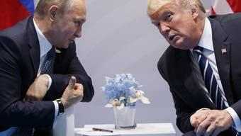 Russlands Präsident Vladimir Putin und US-Präsident Donald Trump am G20-Gipfel in Hamburg im vergangenen Juli. (Archivbild)