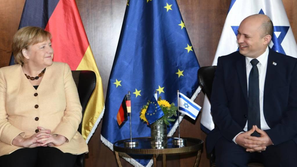 Am Sonntagmorgen traf die deutsche Kanzlerin Angela Merkel Israels Ministerpräsident Naftali Bennett.