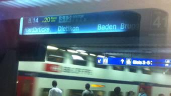 Am Hauptbahnhof in Zürich kam es im S-Bahnverkehr nach Hardbrücke zu Verspätungen.