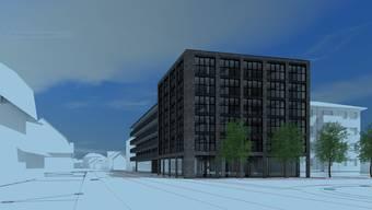 Der Bau entlang der Hauptstrasse hat einen sechsstöckigen Kopfbau. Rechts das Mehrfamilienhaus, das später ersetzt werden soll. Dahinter, nicht sichtbar, der zweite Bau der ersten Bauetappe.