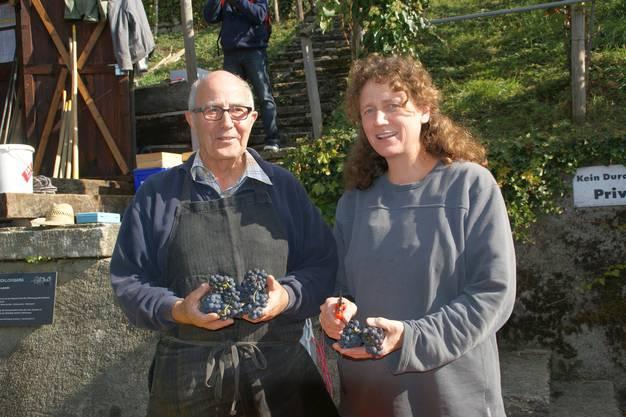 Kurt Wernli und Kathrin Hartmann zeigen die Blauburgunder-Trauben des Lenzburger Schlossberges, aus welchen vier verschieden Weine gekeltert werden
