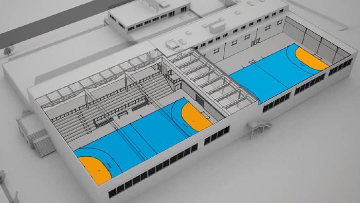 Wettkampf- (links) und Trainingshalle statt Gokart-Halle. Visualisierung/Ho