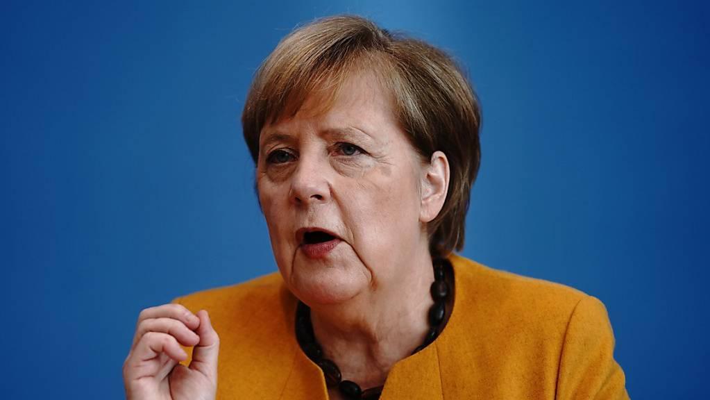 Bundeskanzlerin Angela Merkel (CDU) gibt in der Bundespressekonferenz vor Hauptstadtjournalisten eine Pressekonferenz. Die Bundeskanzlerin informiert die Medienvertreter über die Ergebnisse des Corona-Kabinetts zu den Corona-Maßnahmen und der aktuellen Lage des Infektionsgeschehens. Foto: Kay Nietfeld/dpa-Pool/dpa