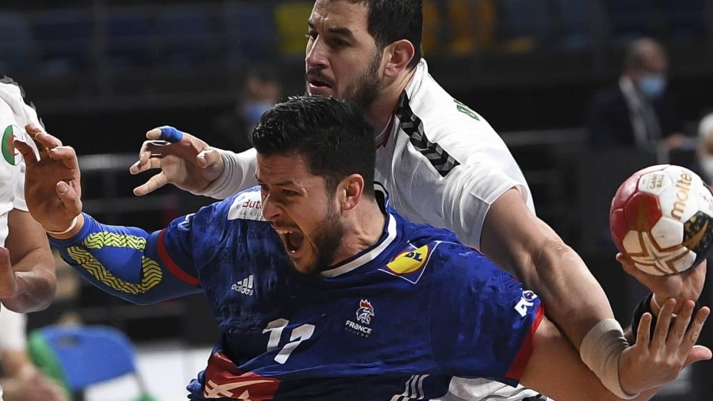 Frankreich, im Bild Nicolas Tournat (vorne), musste gegen Algerien alles in die Waagschale werfen