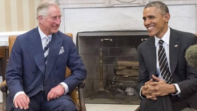 Gut gelaunt: Prinz Charles (l.) und Barack Obama im Oval Office