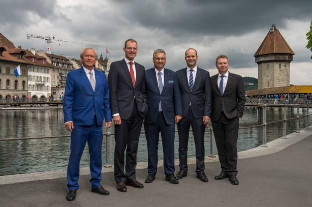 Paul Winiker, Reto Wyss, Guido Graf, Fabian Peter und Marcel Schwerzmann (von links).
