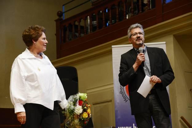 Theres-Ursula Beiner und Urs Mathys, stellvertretender Chefredaktor der Solothurner Zeitung