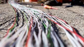 Glasfaserkabel der Swisscom für den Internetansschluss von Privathaushalten (Archiv)
