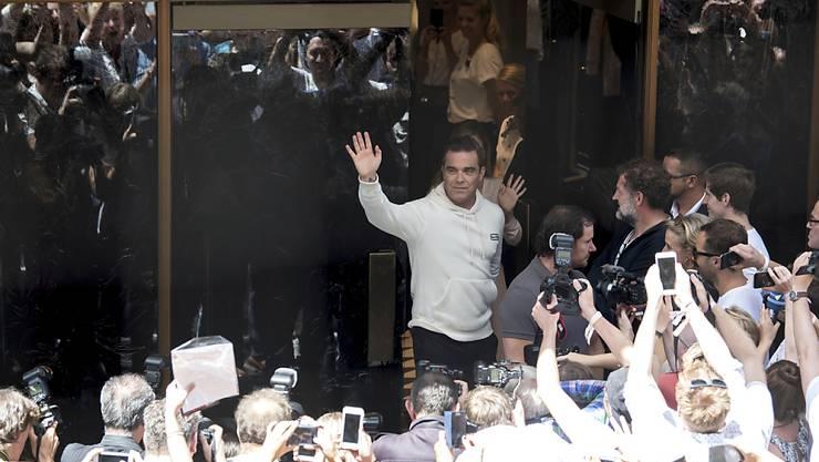 Robbie Williams bei der Vorstellung seiner Sweatshirt-Kollektion am Donnerstag in München.