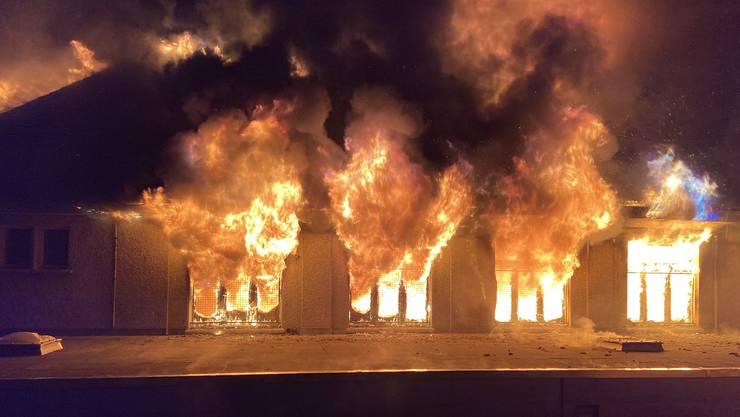 Die Turnhalle in Holderbank brannte Mitte Dezember 2019 bis auf die Grundmauern nieder.