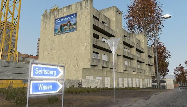 Der Wegweiser in «DayZ» zeigt den Weg nach Seltisberg. Screenshot «DayZ»