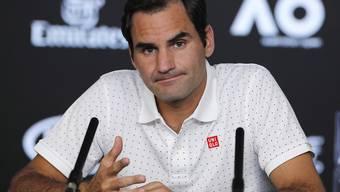 Roger Federer stand am Samstag der internationalen Presse Red und Antwort