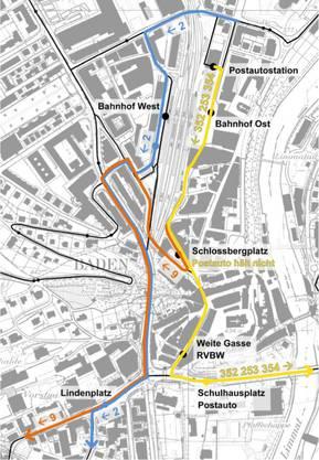 Postautos Richtung Ehrendingen/Surbtal und der Bus Nr. 2 Richtung Spreitenbach werden umgeleitet.