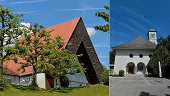 Stehen beide unter Denkmalschutz: Die Markuskirche in Bettlach und die Zwinglikirche in Grenchen.