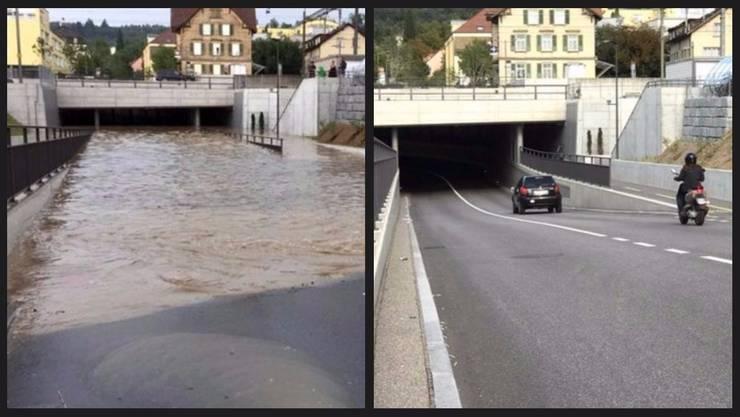 Das Hochwasser richtete Schäden in Millionenhöhe an. Auf der Strengelbacherstrasse in Zofingen sind die Spuren mittlerweile beseitigt.