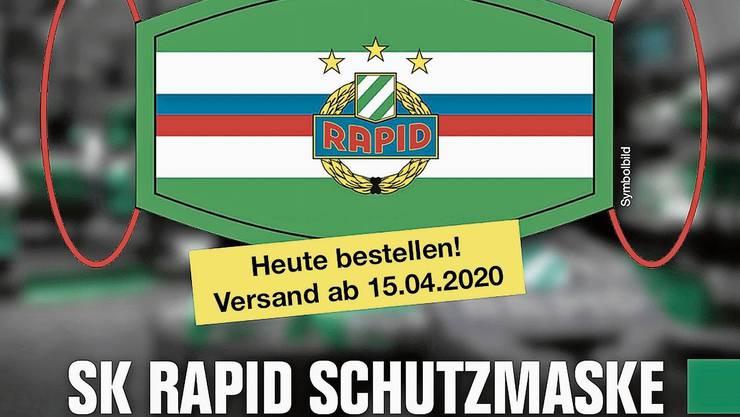 Gelungene Marketingaktion: Rapid Wien hat über die eigene Website 13000 Gesichtsmasken verkauft.