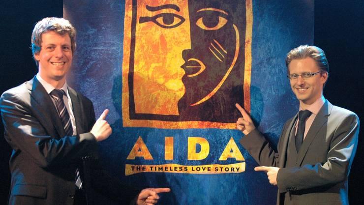 Das Geheimnis ist gelüftet: In der Musical-Saison 2014/15 dürfen sich die Gloria-Fans auf das Musical «Aida» freuen. Das gaben Jochen Frank Schmidt (links) und Alexander Dieterle jetzt bekannt. markus Baier