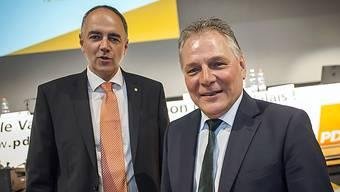 Auf dem CVP-Ticket für die Staatsratswahl stehen Alt Nationalrat Christophe Darbellay (l.) und Staatsrat Jaques Melly. Ein Kandidat aus dem Oberwallis soll folgen.