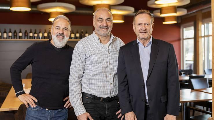Peter Rosenberger, Romeo Preite und René Strittmatter freuen sich auf die Neueröffnung des Golfclub-Restaurants.