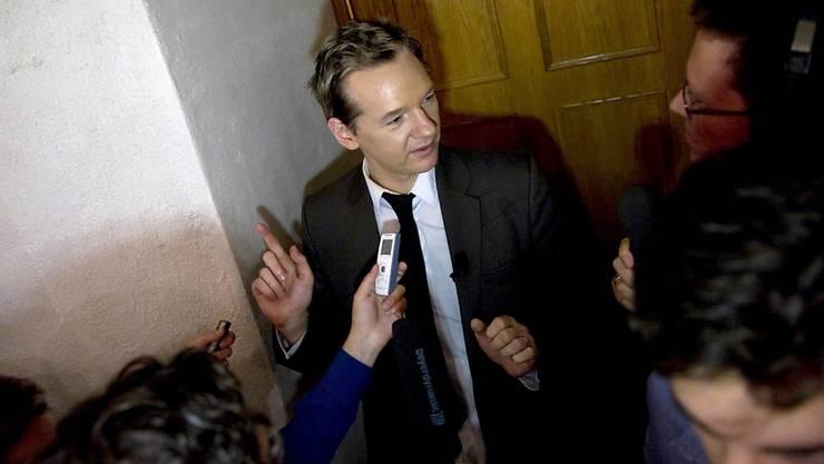 Julian Assange 2014 in Stockholm vor der Veröffentlichung der Wikileaks-Dokumente: Nun fordern britische Parlamentarier Assanges Auslieferung nach Schweden, wo ihn Ermittlungen wegen Vergewaltigungsvorwürfen erwarten.