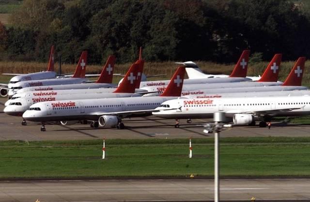 Sämtliche Swissair-Maschinen blieben vor genau zehn Jahren am Boden (Archiv)