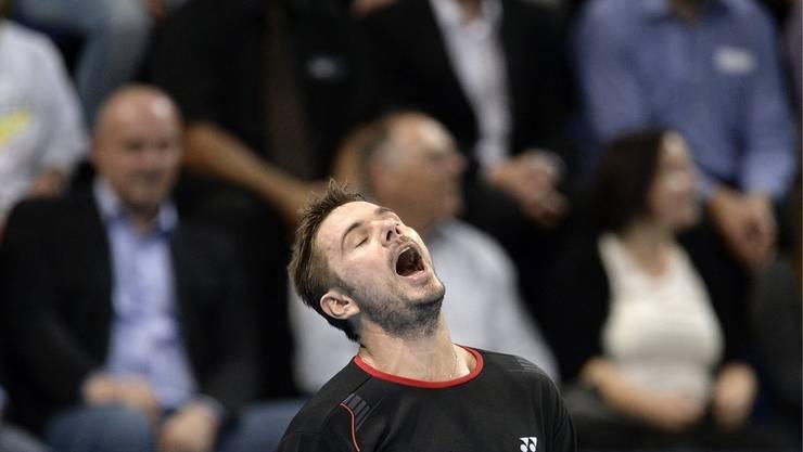 Erlöst: Wawrinka bezwingt Almagro und ist damit in Paris im Viertelfinal und wenig später auch fürs Masters qualifiziert.