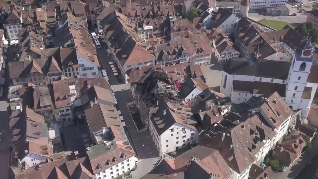 Aus der Vogelperspektive: das Ausmass des Brandes in der Aarauer Altstadt am Tag danach. (4. September 2019)