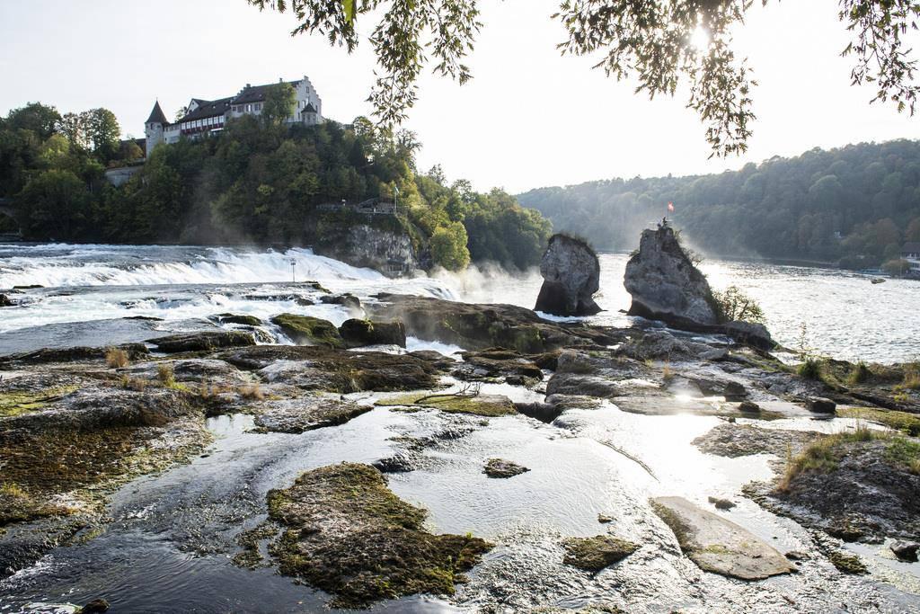 Am Rheinfall lässt sich das Regendefizit 2018 gut erkennen. (Keystone/Patrick Huerlimann)